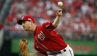 FILE- In this Oct. 3, 2014, file photo, Washington Nationals relief pitcher Jerry Blevins throws during the sixth inning of Game 1 of baseball's NL Division Series against the San Francisco Giants in Washington.  The New York Mets made two trades Monday, March 30, 2015, to bolster a bullpen lacking in left-handers, acquiring Alex Torres from the San Diego Padres and Blevins from the Nationals. (AP Photo/Alex Brandon, File)