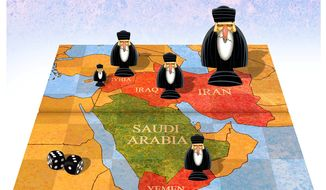Illustration on Iran's greater ambitions in the Middle East by Alexander Hunter/The Washington Times