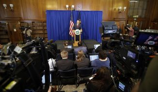 Indiana Gov. Mike Pence speaks during a news conference, Tuesday, March 31, 2015, in Indianapolis. Pence said that he wants legislation on his desk by the end of the week to clarify that the state's new religious-freedom law does not allow discrimination against gays and lesbians. (AP Photo/Darron Cummings)