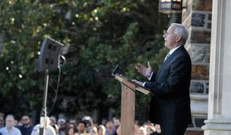 Duke University President Richard Brodhead speaks during a university-wide forum outside the Duke Chapel on campus Wednesday, April 1, 2015, in Durham, N.C. (AP Photo/The Herald-Sun, Christine T. Nguyen) ** FILE **