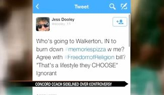 Concord High School girl's golf coach Jess Dooley has been suspended without pay after she posted a tweet threatening to burn down a Walkerton pizza shop for refusing to cater gay weddings. (ABC 57)