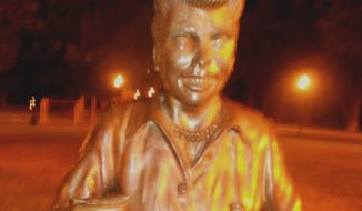 Residents in Lucille Ball's home town in upstate New York want a scary statue of her removed. (Image: Facebook, I Love Lucy, Get Rid of This Statue)