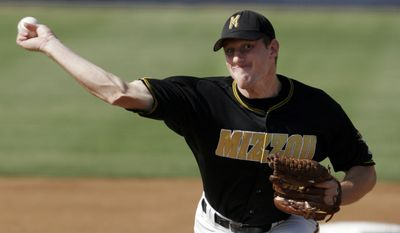 Missouri pitcher Max Scherzer throws to Arizona in the first inning at the NCAA baseball regionals play-offs in Fullerton, Calif, on Friday, June 3, 2005. (AP Photo/Francis Specker)