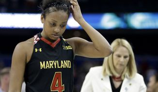 Maryland guard Lexie Brown (4) and Maryland head coach Brenda Frese walk off the court after the second half of the NCAA Women's Final Four tournament college basketball semifinal game against Connecticut, Sunday, April 5, 2015, in Tampa, Fla. Connecticut won 81-58. (AP Photo/Brynn Anderson)