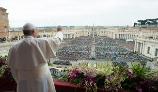 "Pope Francis delivers the Urbi et Orbi (to the city and to the world) blessing at the end of the Easter Sunday Mass in St. Peter's Square at the Vatican , Sunday, April 5, 2015.  In an Easter peace wish, Pope Francis on Sunday praised the framework nuclear agreement with Iran as an opportunity to make the world safer, while expressing deep worry about bloodshed in Libya, Yemen, Syria, Iraq, Nigeria and elsewhere in Africa. Cautious hope ran through Francis' ""Urbi et Orbi"" Easter message, a kind of papal commentary on the state of the world's affairs, which he delivered from the central balcony of St. Peter's Square.  (AP Photo/L'Osservatore Romano, Pool)"