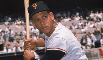Orlando Cepeda, infielder for the San Francisco Giants, is shown at bat during the All-Star game in Washington, D.C., July 10, 1962.  (AP Photo)