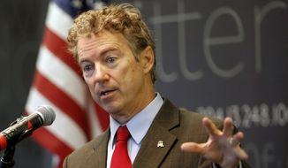 Sen., Rand Paul, R-Ky., speaks in Manchester, N.H., in this March 20, 2015, file photo. (AP Photo/Jim Cole, File)