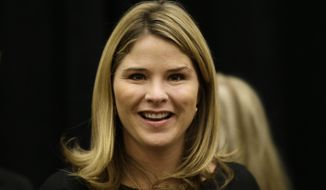 "FILE - In a Wednesday, Oct. 29, 2014 file photo,  Jenna Bush Hager, is seen in Omaha, Neb., before an appearance as feature speaker at the Girls Inc. fundraiser luncheon. Jenna Bush Hager announced that she is pregnant with her second child, Monday, April 6, 2015, on NBC's ""Today"" show. The twin daughter of former President George W. Bush says she expects to give birth in August. (AP Photo/Nati Harnik, File)"
