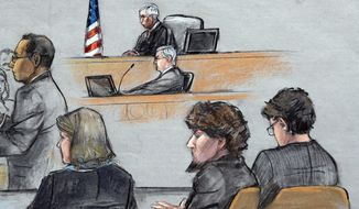 In this courtroom sketch, Assistant U.S. Attorney Aloke Chakravarty, left, is depicted addressing the jury as defendant Dzhokhar Tsarnaev, second from right, sits between his defense attorneys during closing arguments in Tsarnaev's federal death penalty trial Monday, April 6, 2015, in Boston. (AP Photo/Jane Flavell Collins) ** FILE **