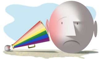 Illustration on gay activist agitation by Alexander Hunter/The Washington Times