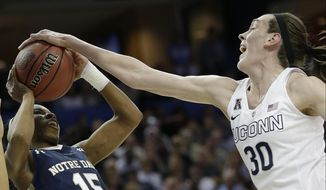 Notre Dame guard Lindsay Allen (15) is stopped by Connecticut forward Breanna Stewart (30) during the first half of the NCAA women's Final Four tournament college basketball championship game, Tuesday, April 7, 2015, in Tampa, Fla. (AP Photo/John Raoux)