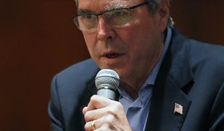 Former Florida Gov. Jeb Bush gestures during an energy forum, which he hosted, at the Brown Palace Hotel in Denver, Tuesday, April 7, 2015. (AP Photo/Brennan Linsley)