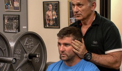 Dr. Bob Donatelli of Modern Athletic Science, right, works with Nationals second baseman Dan Uggla at his facility in Las Vegas in January. (Courtesy of Dr. Bob Donatelli)