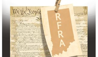 Illustration on the redundancy of the Indiana RFRA law by Alexander Hunter/The Washington Times