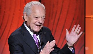 Honoree Bob Schieffer speaks onstage at the Academy of Television Arts & Sciences 22nd Annual Hall of Fame Gala at the Beverly Hilton Hotel on March 11, 2013 in Beverly Hills, California. (Associated Press)