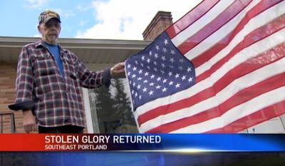 Army Veteran John Miller got a heartfelt delivery this week from Washington, D.C., after his father's American flag was stolen right from the front porch of his Oregon home. (KATU)