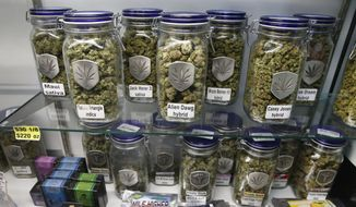 Marijuana and cannabis-infused products are displayed for sale at a marijuana dispensary in Denver, in this Dec. 27, 2013, file photo. (AP Photo/Brennan Linsley, file)