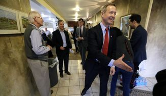 Former Maryland Gov. Martin O'Malley greets local residents before speaking at a fundraiser for state Rep. Scott Ourth, D-Ackworth, Thursday, April 9, 2015, in Indianola, Iowa. (AP Photo/Charlie Neibergall) ** FILE **