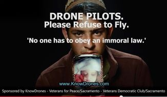 Veterans Democratic Club of Sacramento County and the Sacramento chapter of Veterans for Peace have partnered with the activist website KnowDrones.com to produce anti-drone operations ads. (Image: KnowDrones.com)
