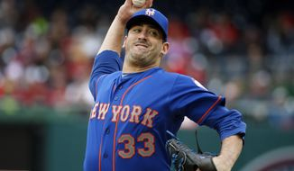 New York Mets starting pitcher Matt Harvey (33) throws during the third inning of a baseball game against the Washington Nationals at Nationals Park, Thursday, April 9, 2015, in Washington. (AP Photo/Alex Brandon)