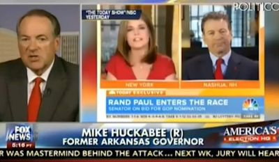 "Mike Huckabee lectured Sen. Rand Paul on Thursday about how running for president is ""the big leagues,"" following the Republican's testy exchange with ""Today"" co-host Savannah Guthrie. (Fox News via Politico)"