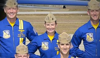 U.S. Marine Corps Capt. Katie Higgins joins the Blue Angels. She is the famous group's first female pilot. (Image: CBS screenshot)