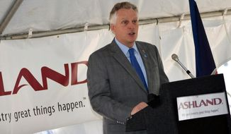 FILE - In this April 2, 2015 file photo, Virginia Gov. Terry McAuliffe announces an $89 million expansion of the Ashland Inc. facility in Hopewell, Va.  Lawmakers are set to return to the Captiol Wednesday, April 15,  to take up   McAuliffe's proposed amendments and vetoes. The governor has proposed changes to ethics reform and police surveillance legislation. (AP Photo/The Progress-Index, Shelby Mertens)