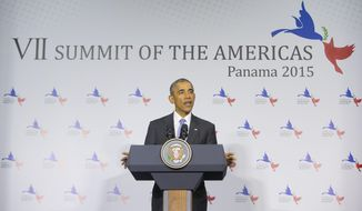 U.S. President Barack Obama speaks during a news conference at the Summit of the Americas in Panama City, Panama, Saturday, April 11, 2015. (AP Photo/Pablo Martinez Monsivais)