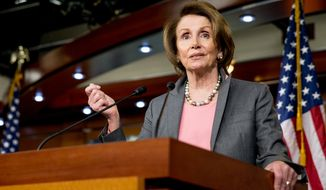 House Minority Leader Nancy Pelosi, California Democrat, speaks during her weekly news conference on Capitol Hill in Washington on March 26, 2015. (Associated Press) **FILE**