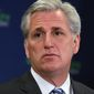 House Majority Leader Kevin McCarthy of Calif. participates in a news conference on Capitol Hill in Washington on March 24, 2015, with members of the House GOP leadership. (Associated Press) **FILE**