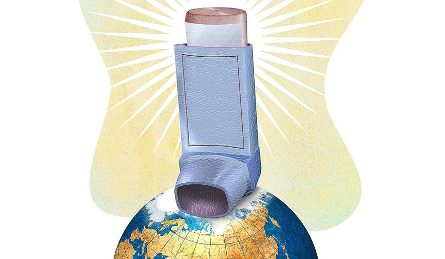 Inhaler Saves Environmental Agenda Illustration by Greg Groesch/The Washington Times