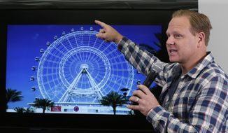 High-wire performer Nik Wallenda announces his latest stunt at the 400-foot Orlando Eye, during a news conference, in New York, Monday, April 13, 2015. Wallenda says he'll walk untethered on top of an Orlando, Florida observation wheel on April 29. The daredevil has previously crossed Niagara Falls, the Grand Canyon and the divide between two Chicago skyscrapers. (AP Photo/Richard Drew)