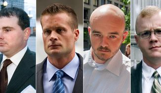 This combination made from file photo shows Blackwater guards, from left, Dustin Heard, Evan Liberty, Nicholas Slatten and Paul Slough. (AP Photo)