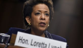In this Jan. 28, 2015, file photo, Attorney General nominee Loretta Lynch testifies on Capitol Hill in Washington before the Senate Judiciary Committee. Congress reconvenes Monday, April 13, 2015, after a two-week recess, and plunges immediately into a fierce debate over how to control Iran's nuclear program. Lawmakers also will decide whether to confirm a new attorney general and whether to stabilize payments for Medicare treatments. (AP Photo/Susan Walsh, File)