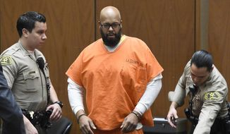 """Marion """"Suge"""" Knight, center, arrives in court for a hearing about evidence in his murder case, in Los Angeles in this March 9, 2015, file photo. Knight is due back in court Monday, April 13, for a hearing in which prosecutors will detail some of their evidence in a murder case against the former rap music mogul. (Kevork Djansezian/Pool Photo via AP, File)"""