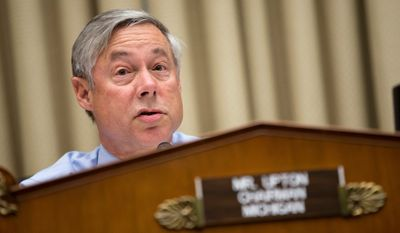 House Energy and Commerce Committee Chairman Fred Upton, Michigan Republican, said that it would be best to wait for the resolution of legal challenges to the EPA's Clean Power Act before implementing the plan. (Associated Press)