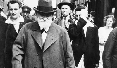 Ivan Pavlov, president of the International Congress of Physiologists, is shown after he arrived by train in Moscow, Aug. 1935.  (AP Photo)