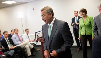 """House Speaker John Boehner of Ohio, followed by Rep. Cathy McMorris Rodgers, R-Wash., and House Majority Leader Kevin McCarthy of Calif., leaves a news conference on Capitol Hill in Washington, Tuesday, April 14, 2015, following a GOP strategy meeting. In a direct challenge to the White House, a Senate committee pushed toward a vote on a bill that would give Congress a chance to weigh in on any final nuclear agreement that can be reached with Iran. The top Republican leaders in the House and Senate insisted on Tuesday that lawmakers have a say. Boehner said """"Congress should absolutely have the opportunity to review this deal,"""" telling reporters. """"The administration appears to want a deal at any cost.""""  (AP Photo/Andrew Harnik)"""