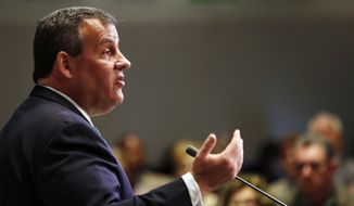 New Jersey Gov. Chris Christie, R-N.J. speaks in Manchester, N.H., Tuesday, April 14, 2015. (AP Photo/Jim Cole)