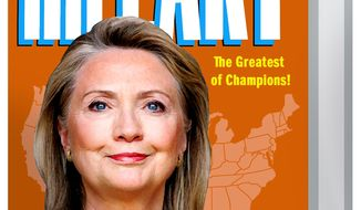 Illustration on the packaging of Hillary Clinton's candidacy by Alexander Hunter/The Washington Times