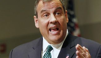 New Jersey Gov. Chris Christie, R-N.J., speaks in Manchester, N.H., Tuesday, April 14, 2015. (AP Photo/Jim Cole) ** FILE **