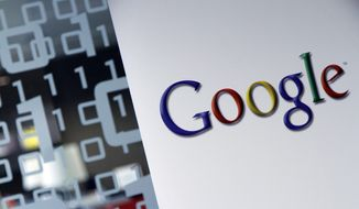 In this Tuesday, March 23, 2010, file photo, the Google logo is seen at the Google headquarters in Brussels. (AP Photo/Virginia Mayo, File)