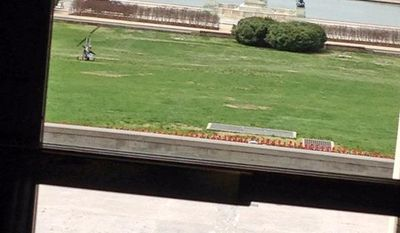 Rep. Bill Huizenga, Republican of Michigan, snapped this photo of the gyrocopter on the grounds of the U.S. Capitol.