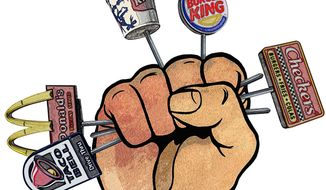 Union attempts to organize fast food illustration by Greg Groesch/The Washington Times