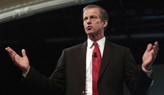 FILE - In this Jan. 16, 2015 file photo. South Dakota Republican Sen. John Thune speaks at the Performing Arts Center in Rapid City, S.D. First-quarter federal fundraising numbers released Wednesday, April 15, 2015, show Thune brought in roughly $793,000 and that he is sitting on $10.37 million. Thune is up for re-election in 2016. (Chris Huber/Rapid City Journal via AP, File)