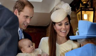 This Wednesday Oct. 23, 2013, file photo shows Britain's Queen Elizabeth II, right, speaking with Prince William and Kate Duchess of Cambridge as they arrive with their son Prince George at the Chapel Royal in St. James's Palace London. Royal fans are ready to welcome Prince William and Kate's second child. (John Stillwell/Pool, via AP  File)