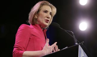 """""""I think that if Hillary Clinton were to face a female nominee, there are a whole set of things that she won't be able to talk about,"""" said former Hewlett-Packard CEO Carly Fiorina, who is weighing a presidential run. (Associated Press)"""