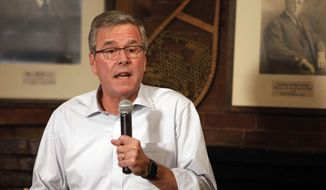 Former Florida Gov. Jeb Bush speaks to a group at a Politics and Pie at the Snow Shoe Club Thursday, April 16, 2015, in Concord, N.H. (AP Photo/Jim Cole)