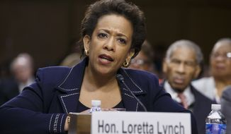 Attorney General nominee Loretta Lynch testifies on Capitol Hill in Washington in this Jan. 28, 2015, file photo. (AP Photo/J. Scott Applewhite, File)