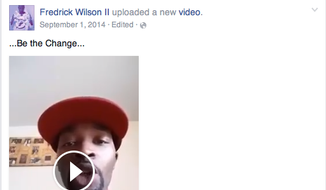 Fredrick Wilson II, above, in a screenshot from a viral Facebook video he posted amid last summer's racial strife in Ferguson, Mo.